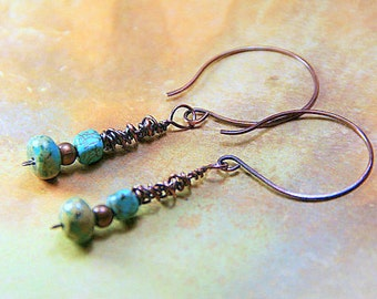 Dainty Turquoise Agate and Copper Wrapped Dangles