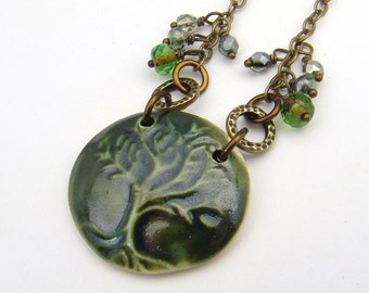 Green tree necklace, antiqued brass chain, ceramic 19 1/2 inches long