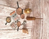 Miniature Dollhouse Set of 10 Kitchen Accessories Copper Pans Churn Milk Jug Meat Grinder Coffee Mill Cookie Sheets
