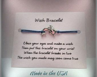 Dolphin wish bracelet, charm bracelet, friendship bracelet