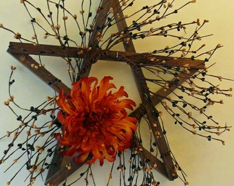 Fall Inspired Rustic Weathered Barn Wood Star