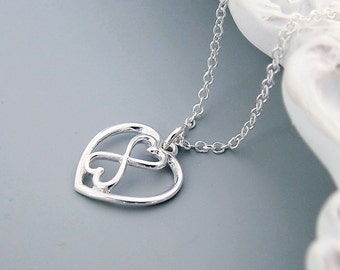 Silver Infinity Heart Necklace, Infinity Jewelry, Sterling Silver, Mother of the Bride Necklace, wedding, valentine