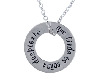 Personalized Silver Washer Charm Necklace Hand Stamped Inspirational Phrase Custom World Language Pendant Engraved Artisan Handmade Jewelry