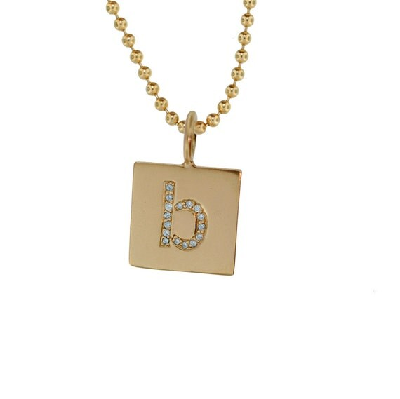 Custom 14k pave diamond initial mommy charm necklace solid for Just my style personalized jewelry studio