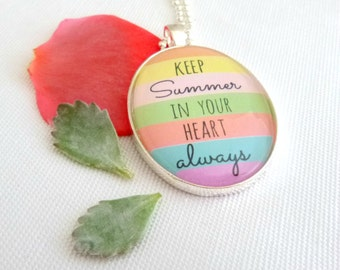 summer quote necklace, holiday romance pendant, neon striped necklace, summer pendant