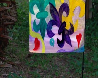 Mardi Gras Fleur de lis Garden Flag from art. Available in 2 sizes