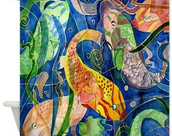 Tropical Fish Shower Curtain from my original art available in 2 sizes