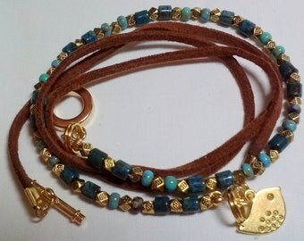 Suede wrap bracelet - beaded - gold bird - turquoise beads