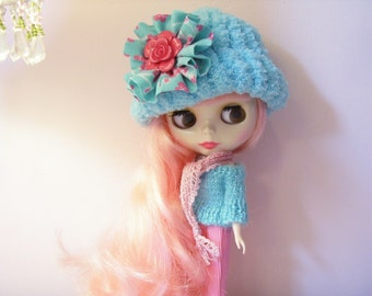 3 Pieces...Cute Sweater, Hat, and Scarf for Blythe...Aqua and Pink.....Flower with Rose on Hat...