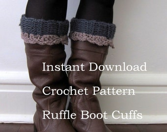 Instant Download Crochet Ruffle Boot Cuffs Pattern