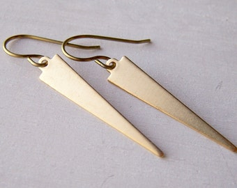 gold niobium geometric earrings brass daggers long narrow triangles - hand crafted by Variya