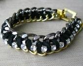 Rocker Chic Leather Bracelet, Rocker Chic Jewelry, Statement Jewelry, Leather Wrapped Chain Bracelet, Rhinestone Bracelet, Gold and Black