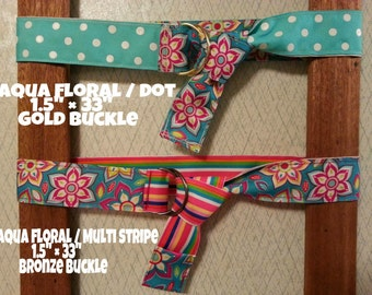 Reversible Grosgrain Ribbon Belt with D ring Buckle...aqua/floral/dot
