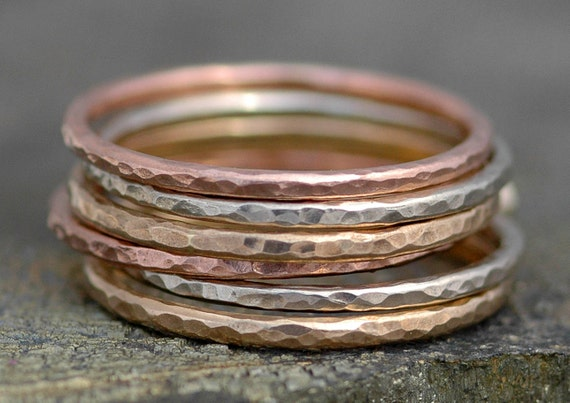 Thin Solid Recycled 14k Gold Stacking Ring- Rose Gold