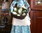 "Handmade folk art primitive  22"" doll-Trisha's Turquoise Easter Outfit"