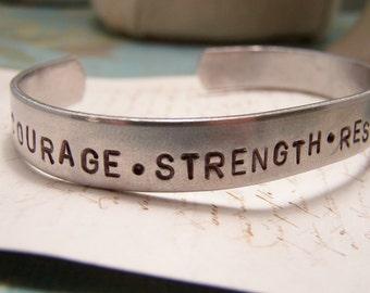 Courage. Strength. Resolve. 26.2 Marathon Cuff Bracelet. Runner. 13.1 Half Marathon. Athlete