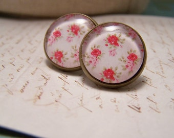 Rose Blossom Floral Cabochon Earrings. Spring.Summer . Pink Cream and Green Rose chintz