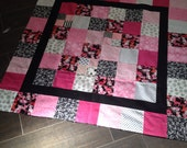 Pink Kitty Cat Modern Quilt Top 45 x 45
