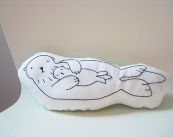 sea otter mother and baby pillow, sea otter cushion, plush sea otter, shaped pillow