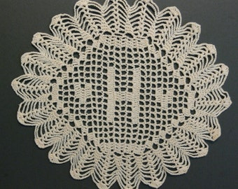 "Custom Handmade Crocheted Initial Doily ""H"""