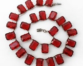 Czech signed Ruby Red faceted glass rectangles decorated setting silver plate over brass Collar Necklace Art Deco VINTAGE