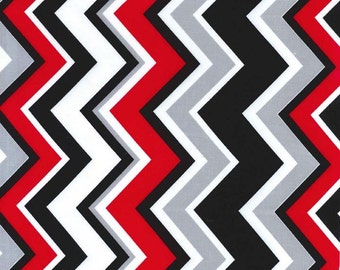 Michael Miller Fabric Chevy Chevron Rouge Red Black, Choose your cut