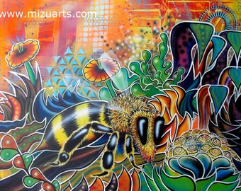 Honeycomb - High Quality Print of Abstract Nature Bee Painting