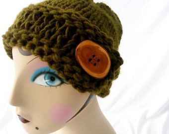 Olive Green Side Button Hat