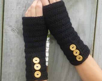 PDF PATTERN for Long Crochet Button-up Arm Warmers - Fingerless Gloves - Hobo Gloves