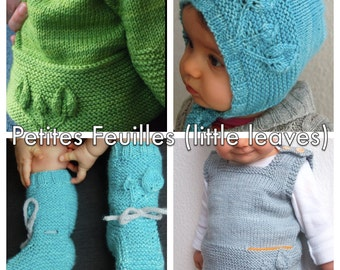Petites Feuilles (Little Leaves) discounted bundle for 4 PDF knitting patterns