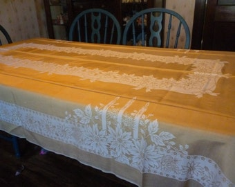 Vintage Gold Damask Christmas Candles Poinsettias Tablecloth 56 X 96