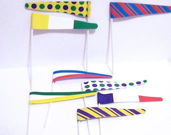 12 Colrful Pennant Flag Cupcake Picks