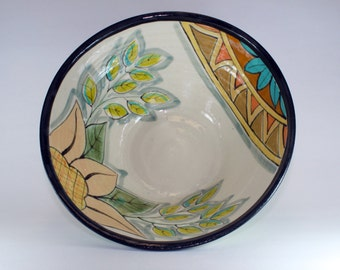 Handmade Pottery Bowl, Clay crafted, Hand Painted Medium Bowl SKU134-1