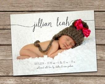 Birth Announcement : Jillian Baby Girl Script Custom Photo Birth Announcement - Baby Girl Announcement - Photo Baby Announcement - Printable