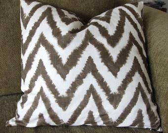 "One Decorative Throw Pillow Cover, 18"" x 18"", Italian Brown and White Chevron Print, Zipper Closure, Washable"