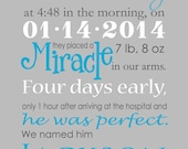 Custom Birth Story Announcement Wall Art-Printable and Frameable