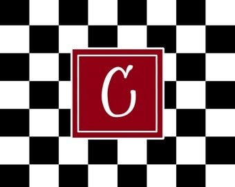 Black & White Checkered Plush Fuzzy Area Rug and monogram -Size 48x30,  96x44, 96x60-Other Color Selections available