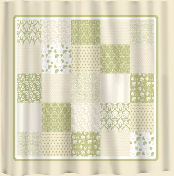 Items Similar To French Country Patchwork Shower Curtain Sage Green Cream And White On Etsy