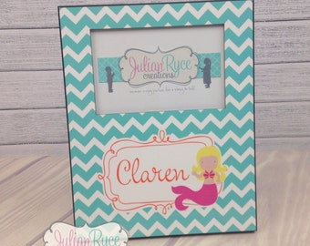Custom Monogrammed Chevron Picture Frame with Mermaid