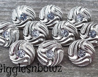 NeW Set of 10- PETITE Size SiLVeR SWiRL Rhinestone Buttons- CLEAR 15mm