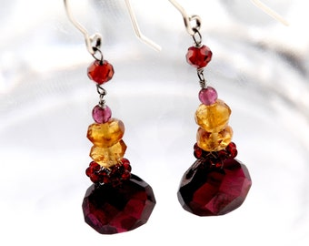 Long Garnet Earrings with Red and Gold Semi Precious Stones on Sterling Silver Ear Wire