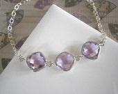 Lavender Bracelet, Silver Bracelet, Bridal Jewelry, Bridesmaid Bracelet, Best Friend Birthday, Lavender Necklace, Silver Necklace