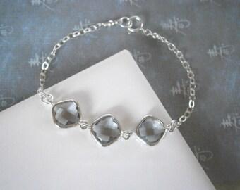 Grey Diamond Bracelet, Silver Bracelet, Bridal Jewelry, Bridesmaid Bracelet