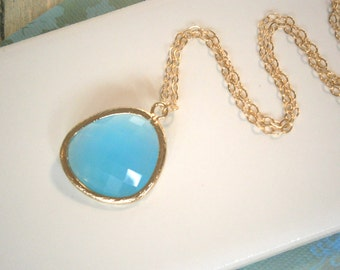 Aqua Blue Necklace, Long Pendant Necklace, Gold Necklace, Long Layering Jewelry, Best Friend Birthday, Boho Style, Layering Necklace