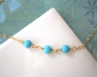 Turquoise Necklace, Gold Necklace, Three Wishes, Turquoise Bracelet, Gold Bracelet, Turquoise Anklet, Gold Anklet