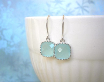 Mint Aqua Earrings, Silver Earrings, Simple, Everyday, Minimalist Earrings, Holiday Gift