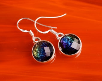 Handmade Dichroic Glass Earrings Sterling Silver .925 ...spectrum...