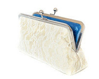 Champagne Silk Purse,Lace Bridal Clutch Bag, Ivory Purse, Bridesmaid Evening Clutch, Dupioni Silk Something Blue Made in England UK