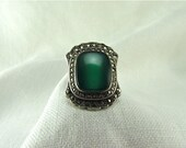 Circa 1930 Art Deco Chrysophrase and Marcasite Ring Set in Silver