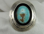 Vintage Sliver and Nevada Turquoise Navajo Cuff